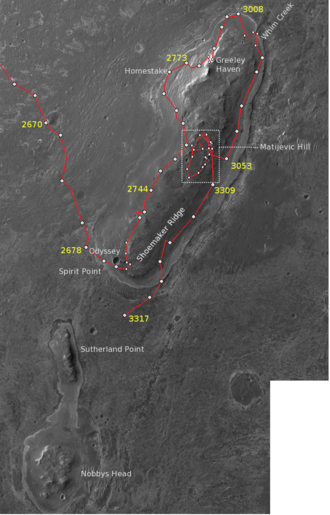 Cape York (Mars) - An overview map of Cape York, showing the path of Opportunity Mars rover and various locations it visited there in the 2010s