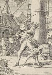 Capitan Uncino combatte contro il piccolo Peter Pan in un'illustrazione originale del libro.