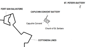Capuchin Convent & St. Peter's Batteries map.png