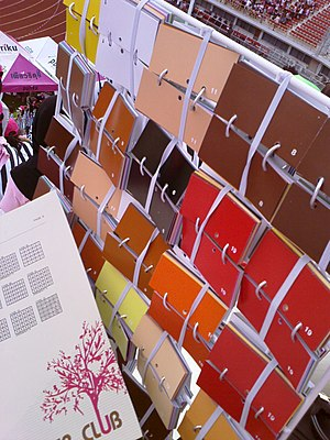 "Card stunt - Colored card booklets on a card stunt ""plate""—the performers arrange the cards according to predesigned patterns in order to achieve a detailed aggregate image."
