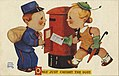 Cartoon of mailman and woman with the mail, Only Just Caught the Post (NBY 21110).jpg