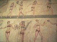 """Famous """"bikini girls"""" mosaic showing women exercising"""