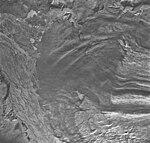 Casement Glacier, rock covered valley glacier terminus and braided outwash delta, August 26, 1968 (GLACIERS 5296).jpg