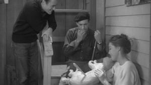 "A Bucket of Blood - Carla and Leonard admire Walter's ""sculpture"", Dead Cat."
