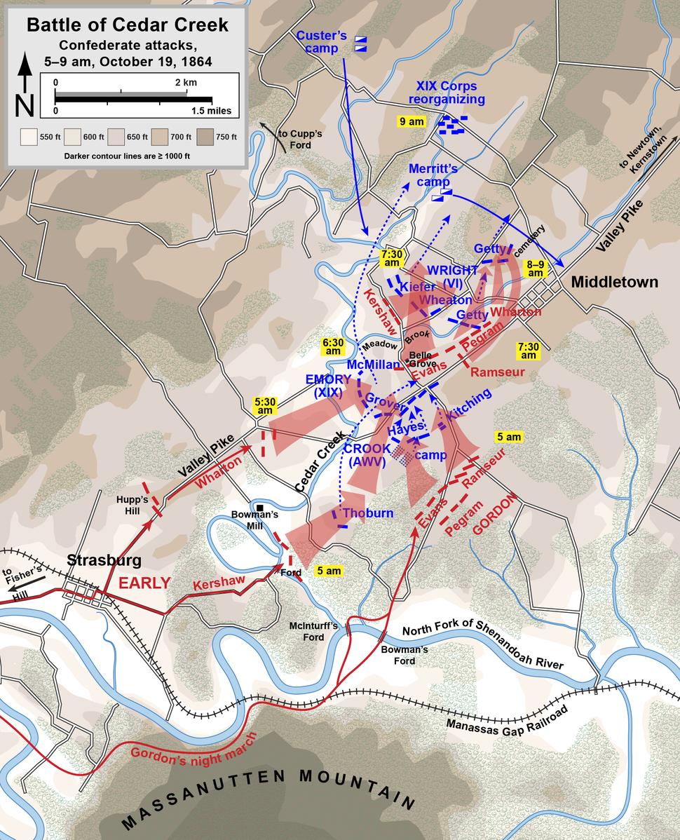 Cedar Creek Confederate attacks