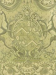 Central part of an engraved escutcheon Robinson quartering Weddell, for 3rd Lord Grantham, on silver gilt, 1802