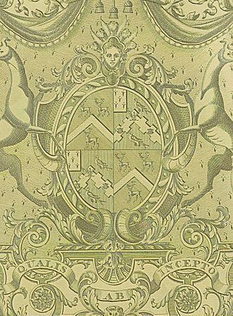 Thomas de Grey, 2nd Earl de Grey - Central part of an engraved escutcheon Robinson quartering Weddell, for 3rd Lord Grantham, on silver gilt, 1802.