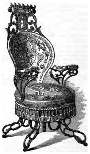 Centripetal Spring Armchair - The armchair as depicted in the 1851 exhibition catalogue.