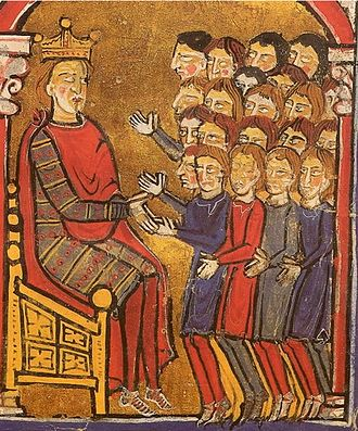Alfonso the Battler - Alfonso receiving the homage of the men of the late Count Girard I of Roussillon. A miniature from the Liber feudorum Ceritaniae.