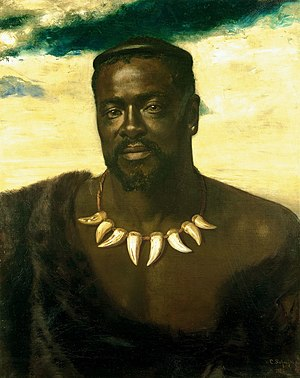 Cetshwayo kaMpande - Cetshwayo visited England in 1882 when this portrait was painted by Karl Rudolf Sohn.