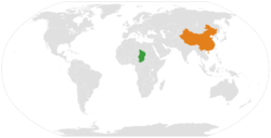 Map indicating locations of Chad and China