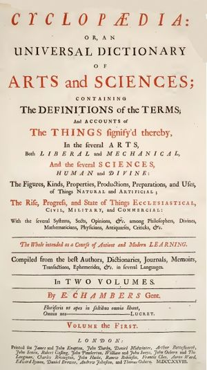 Ephraim Chambers - Title page of Chambers' 1728 Cyclopaedia, or an Universal Dictionary of Arts and Sciences