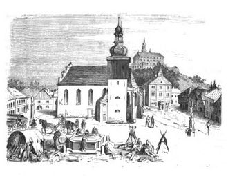 Náchod - Nachod church and castle during the 1866 war.