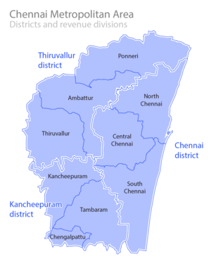 Chennai Metropolitan Development Authority - Districts and Taluks of the metropolitan area, which is now equivalent to the city limits (metro area has yet to be redefined)