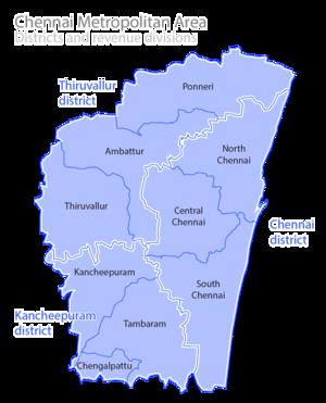 Chennai Metropolitan Area - Image: Chennai revenue divisions map