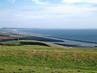 Abbotsbury - Chesil Beach and The Fleet from the northwest, with St Catherine's Chapel on the left