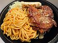 Chicken Fillet and Veal Sausage with Spaghetti in Tomato Sauce.JPG