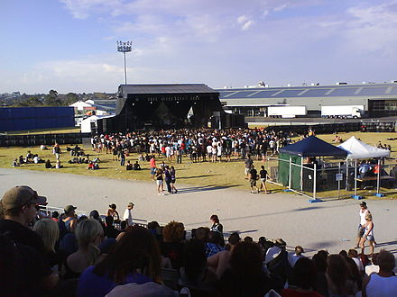 Chiodos performing on the introduced extra sixth stage at Soundwave in Melbourne, 2009. ChiodosSoundwave.JPG