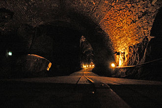 Kongsberg - Inside the mines. Christian 7. stoll (right), «skråplanet» (down to the left)