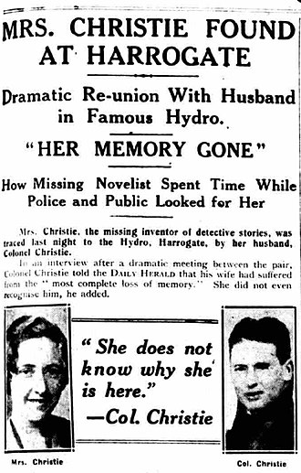 Agatha Christie - Daily Herald, 15 December 1926, announcing Christie had been found