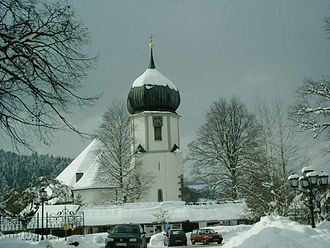 Hinterzarten - The church, covered in snow