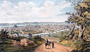 Miami and Erie Canal - The canal figures prominently in this 1841 lithograph view of Cincinnati