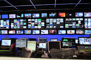 The media industry is an example of the information economy. City tv control room Doors Open Toronto 2012.jpg