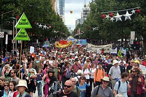 Climate Rally flows down Swanston street
