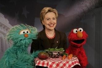 Elmo - Elmo and Rosita film a PSA in 2004 with then-Senator Hillary Clinton