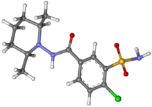 Clopamide ball-and-stick.png