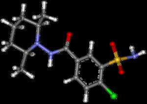 Clopamide - Image: Clopamide ball and stick