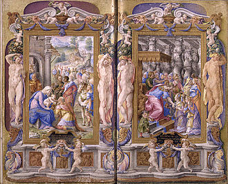 Italian Renaissance - Giulio Clovio, Adoration of the Magi and Solomon Adored by the Queen of Sheba from the Farnese Hours, 1546