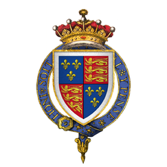 Coat of arms of Lord Henry Stafford, KG (later 1st Earl of Wiltshire).png