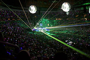 Mylo Xyloto - The Mylo Xyloto Tour was noted for its large scale display of pyrotechnics, laser lighting and Xylobands. (Pictured: Coldplay performing at the Wells Fargo Center in Philadelphia, Pennsylvania on July 6, 2012)