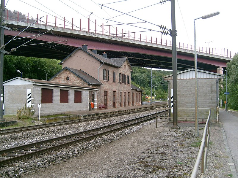 The railway station of the village of Colmar-Berg, Luxembourg