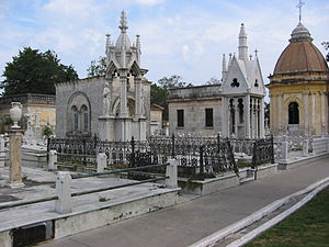 Colon Cemetery, Havana - One of the many elaborate mausoleums inside the Colon Cemetery, Havana, Cuba