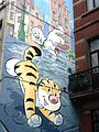 Comic wall Billy the cat by Stéphane Colman and Stephen Desberg. Brussels.jpg