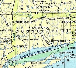 Mapa de Connecticut y de sus ocho condados.