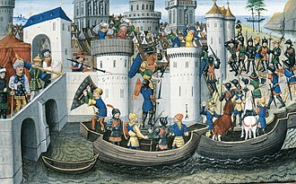 Crusades - Siege of Constantinople (1204) (BNF Arsenal MS 5090, 15th century)