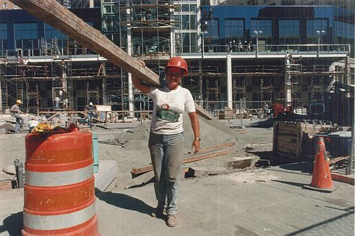 Construction worker at Westlake Center, 1988