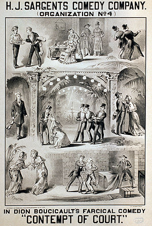 Dion Boucicault - Poster for a production of Boucicault's farce Contempt of Court, c. 1879. From the Library of Congress