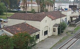 Corona–North Main station - The nearby Santa Fe depot, viewed from Main Street