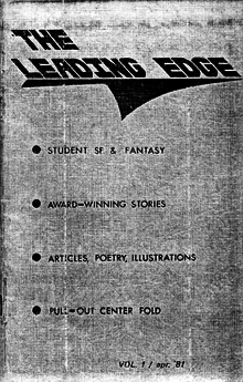 Scan of the cover of the first issue of The Leading Edge from April 1981.
