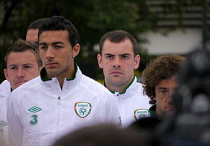 """Stephen Hunt (footballer, born 1981) - Hunt (far right) during a """"welcome ceremony"""" for the Irish squad in Sopot before UEFA Euro 2012"""