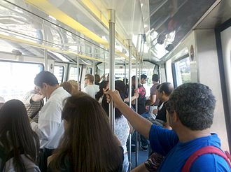 Arts & Entertainment District - Metromover is a popular way of getting around the Downtown area. It connects the area's neighborhoods and can get very busy during rush hour.