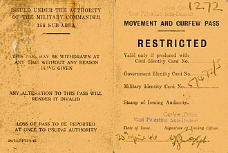 Curfew - Movement and curfew pass, issued under the authority of the British Military Commander, East Palestine, 1946