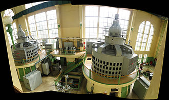Cushman Dam No. 2 - A panoramic view showing two of the three turbines in their original housing at the Cushman Dam No. 2 powerhouse, operated by Tacoma Public Utilities.