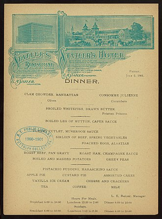 "Statler Hotels - Image: DINNER (held by) STATLER'S HOTEL (at) ""BUFFALO, NY"" (HOTEL) (NYPL Hades 276910 469305)"