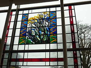 Wellcome Trust Sanger Institute - Commemorative stain window located in the Sulston building of the Wellcome Trust Sanger Institute, to mark the opening of the Genome Campus.