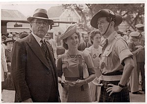 Andrew Geddis - With daughter, Margaret and future son-in-law Donald Callander at Poona Races in Aug '43
